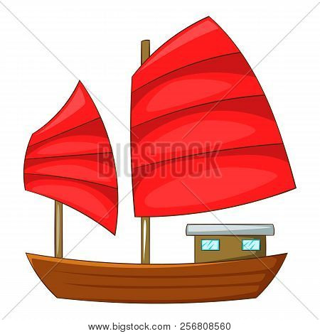 Junk Boat With Red Sails Icon. Cartoon Illustration Of Junk Boat With Red Sails Icon For Web Design