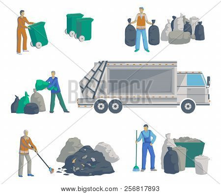 Garbage Men Set. Garbage Truck, Bags, Cans, Bins, Containers And Pile Of Trash. Isolated Objects On