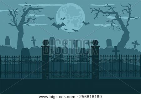 Cemetery or graveyard background. Silhouettes of gravestones, fence, moon etc. Color vector illustration for Halloween poster