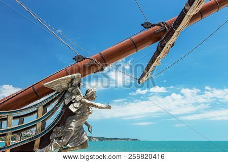 Figurehead (nose Shape) Is An Ornament On Nose Of Sailing Vessel, Rostrum Or Caryatid. Wooden Sculpt