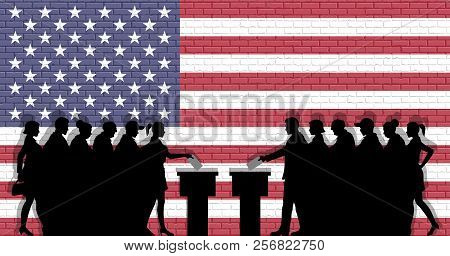 American voters crowd silhouette in election with USA flag graffiti in front of brick wall. All the silhouette objects, icons and background are in different layers. poster