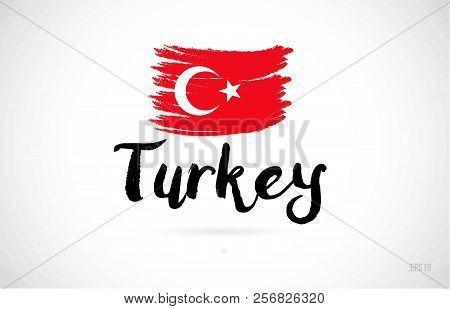 Turkey Country Flag Concept With Grunge Design Suitable For A Logo Icon Design