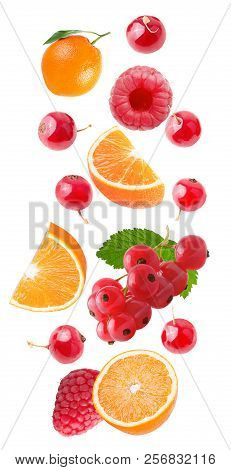 Flying Orange And Red Barries Isolated On White