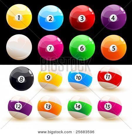 Set of colored balls billiard