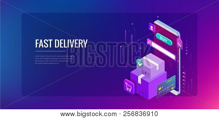 Isometric Vector Online Shopping Concept. Landing Page Template. Modern Ultraviolet Design For A Web