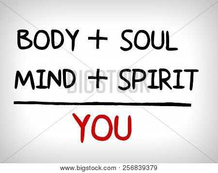 You, Body, Mind, Soul, Spirit - A Simple Mind Map, Health Concept