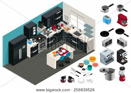 A Vector Illustration Of Isometric Kitchen Appliances