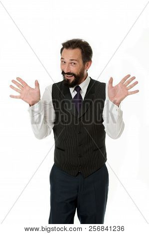 Tricky Man Shows Hands Palms As Symbol Of Innocence. Business Success Tips. If You Want Be Successfu