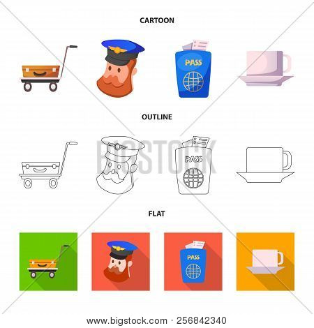 Vector Illustration Of Airport And Airplane Symbol. Set Of Airport And Plane Stock Vector Illustrati