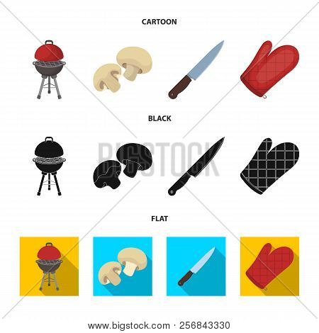 Barbeque Grill, Champignons, Knife, Barbecue Mitten.bbq Set Collection Icons In Cartoon, Black, Flat