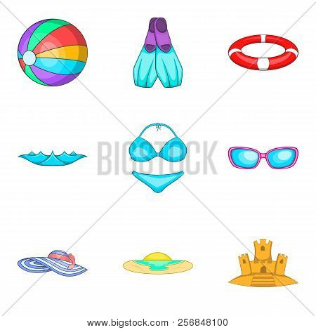 Water Occupation Icons Set. Cartoon Set Of 9 Water Occupation Icons For Web Isolated On White Backgr