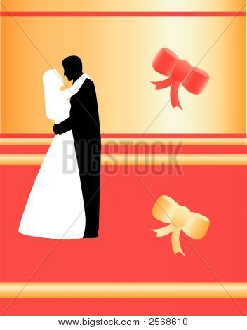 Valentine'S Card With Silhouettes Vector.Eps