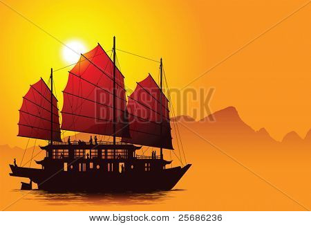 Silhouette of chinese junk with mountains on the background