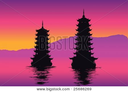Old pagodas on the water