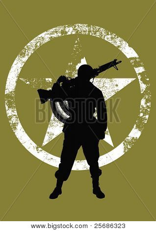 Vector silhouette of a soldier with a machine gun poster