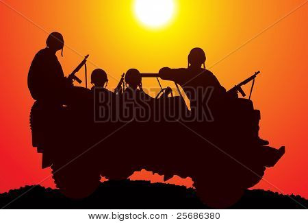 Marines. Silhouette of soldiers on the vehicle