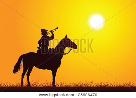 Silhouette of a soldier on horseback
