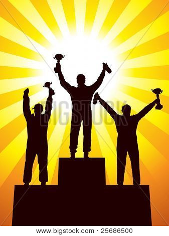 Silhouette of three racers on the podium