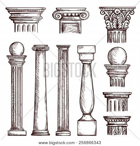 Arabic Architecture Columns Engraved Illustration With Stone Marble Pillar Vector Set Isolated. Marb
