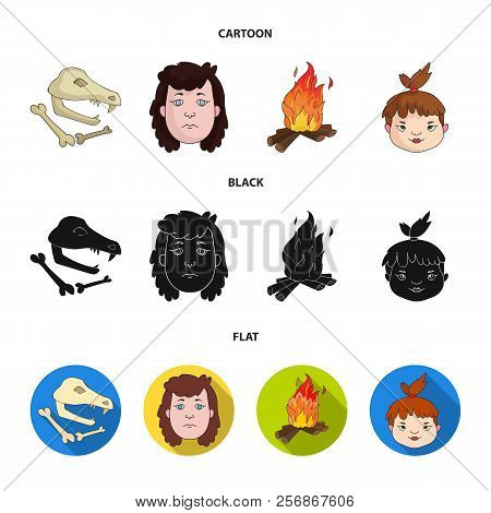 Woman, Hair, Face, Bonfire .stone Age Set Collection Icons In Cartoon, Black, Flat Style Vector Symb