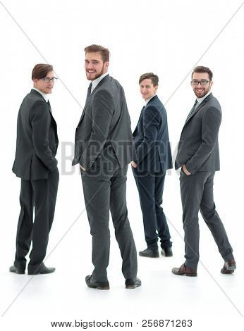 rear view.a group of successful business people.i