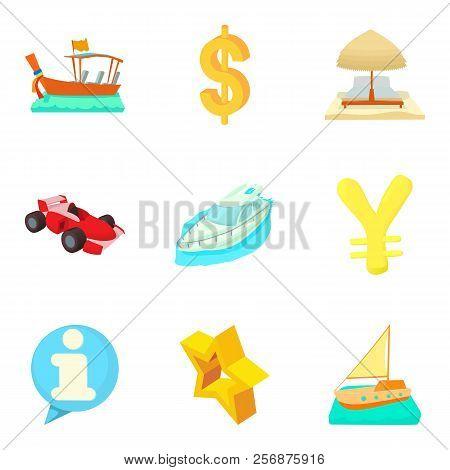 Monetary Opportunity Icons Set. Cartoon Set Of 9 Monetary Opportunity Icons For Web Isolated On Whit