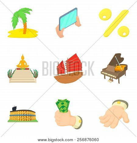Cash Opportunity Icons Set. Cartoon Set Of 9 Cash Opportunity Icons For Web Isolated On White Backgr