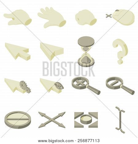 Cursor Arrow Hand Icons Set. Isometric Illustration Of 16 Cursor Arrow Hand Icons For Web