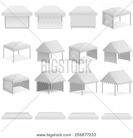 Canopy Shed Overhang Awning Mockup Set. Realistic Illustration Of 16 Canopy Shed Overhang Awning Moc