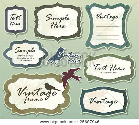 Set of ornate vector frames and labels