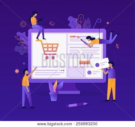 A Team Of Web Developers Design An Online Store. Teamwork Project. Website Development. Flat Vector