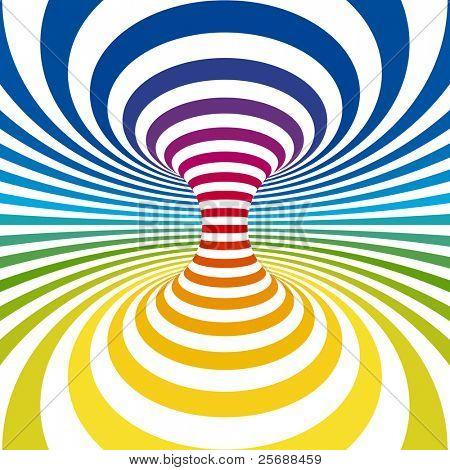Rainbow stripes projection on torus. Vector illustration