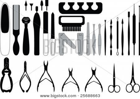 Manicure  and chiropody tools vector collection