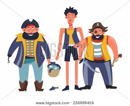 Pirates People With Man Holding Bucket With Fish Vector