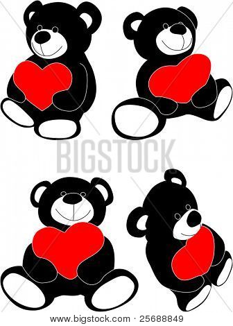 Vector teddy bear with heart