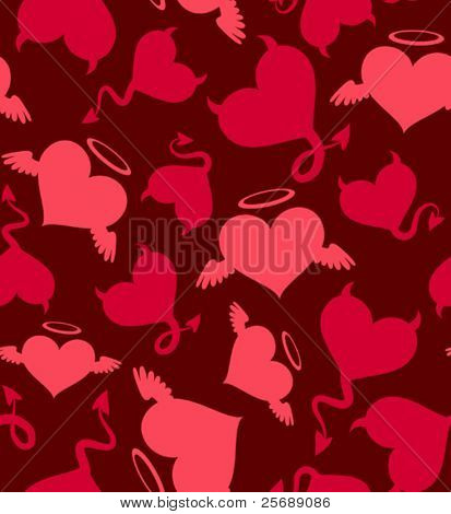 seamless vector pattern with devil and angel hearts