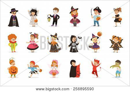 Ute Little Kids In Colorful Halloween Costumes Set, Halloween Children Trick Or Treating Vector Illu