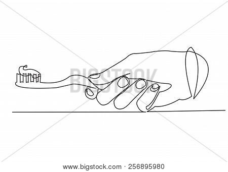 One Continuous Drawn Line Of Toothbrush In Hand Hand-drawn Picture Silhouette.line Art. Single Line