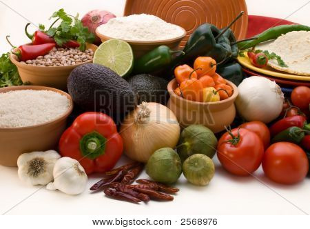 Fresh Ingrediants For Salsa, With Rice. Beans And Tortillas, White Background