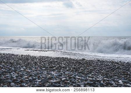 Sea Wave Surf. Sea Waves With A Lot Of Sea Foam. Beautiful Blue Waves With A Lot Of Sea