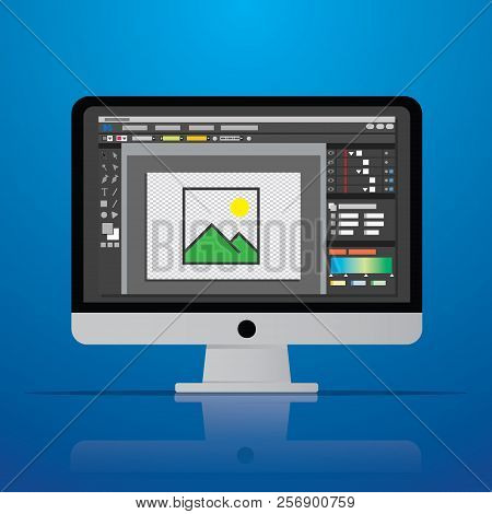 Graphic Photo Picture Editor Software Icon On Desktop Computer In Vector Flat Design Style Vector Il
