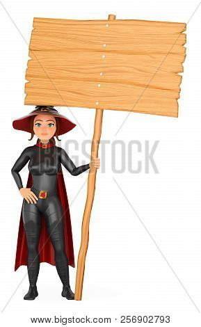 3d Halloween People Illustration. Witch With A Blank Wooden Poster. Isolated White Background.