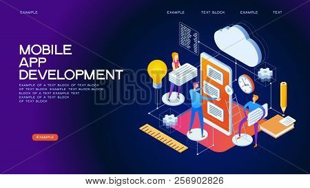 Design Isometric Concept Of Mobile App Development. 3d Isometric Vector Illustration.