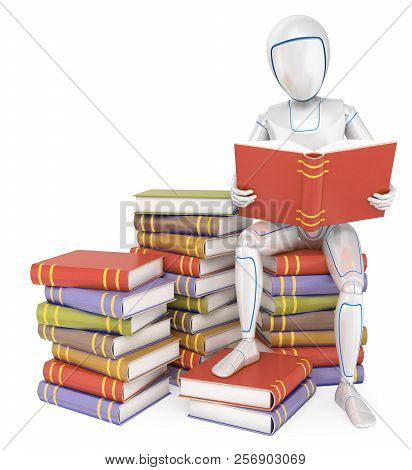 3d Futuristic Android Illustration. Humanoid Robot Sitting On A Pile Of Book Reading. Isolated White