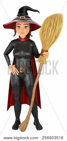 3d Halloween People Illustration. Witch With His Magic Broom. Isolated White Background.