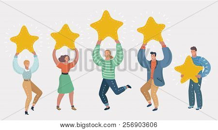 People Holding In Their Hands Gold Stars. Men And Women Rate Services And User Experience. Juries Ra