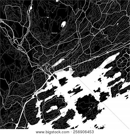 Area Map Of Bærum, Norway. Dark Background Version For Infographic And Marketing Projects.