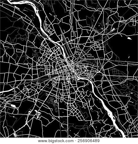 Area Map Of Warsaw, Poland. Dark Background Version For Infographic And Marketing Projects.