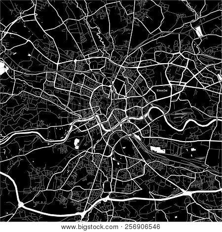 Area Map Of Kraków, Poland. Dark Background Version For Infographic And Marketing Projects.