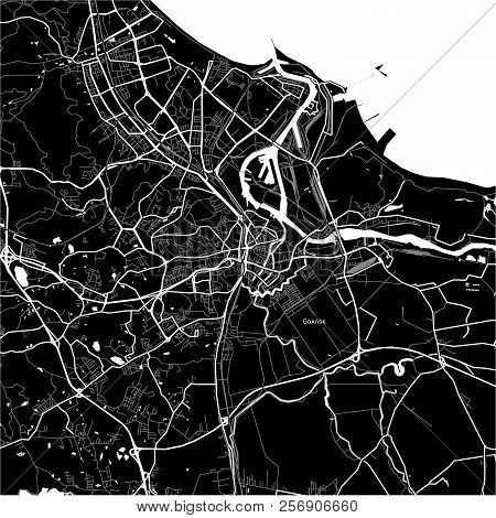 Area Map Of Gdańsk, Poland. Dark Background Version For Infographic And Marketing Projects.